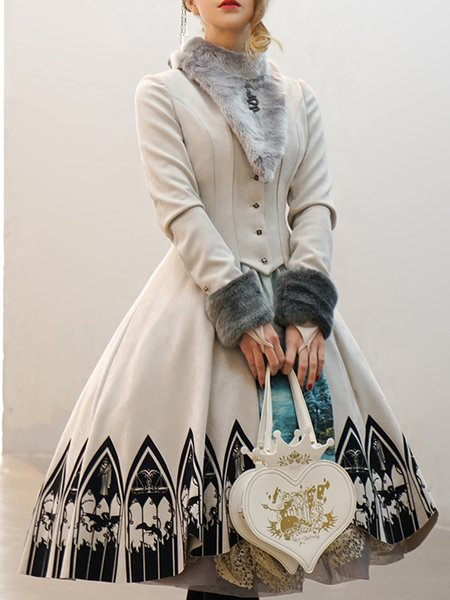 Light Gray Vintage A-line Stand Collar Printed Coat