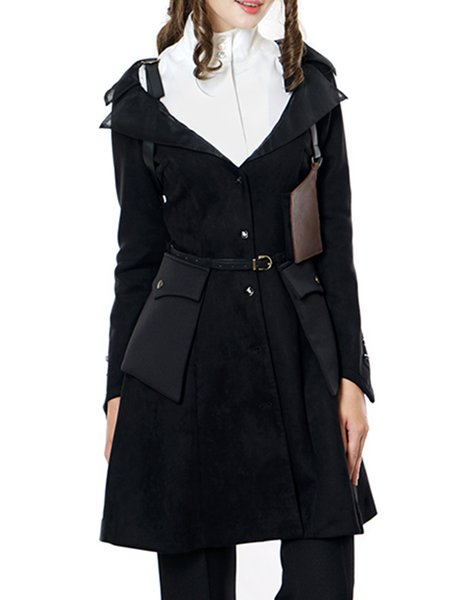 Black Slit Long Sleeve Vintage Trench Coat with Belt and Holster