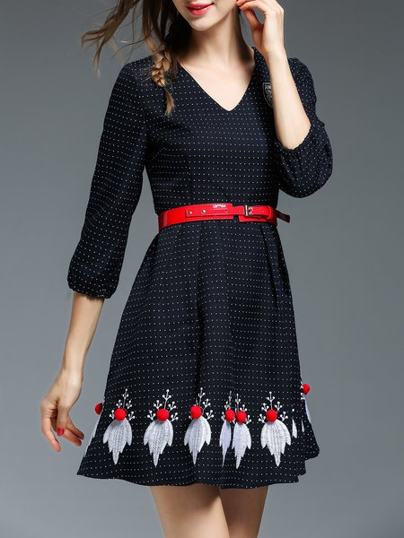 Black Embroidered V Neck Girly Polka Dots Mini Dress with Belt