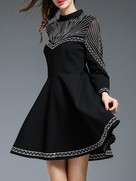 Black Pockets Stand Collar Swing Casual Mini Dress