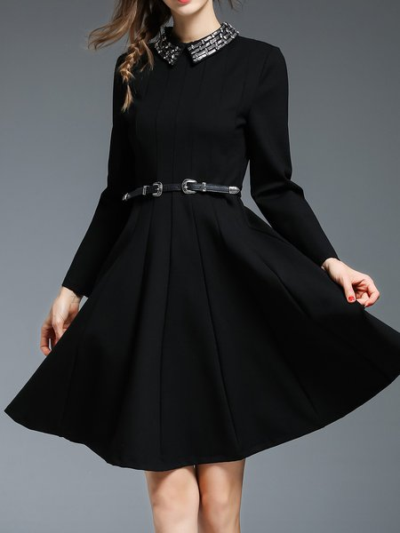 Beaded Swing Stand Collar Elegant Midi Dress with Belt