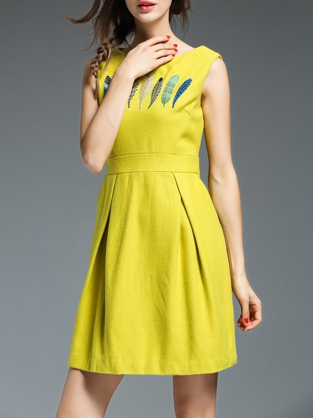 Yellow Wool Blend Embroidered Girly Sheath Mini Dress