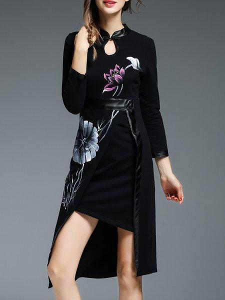Black High Low Slit Vintage Floral Keyhole Midi Dress