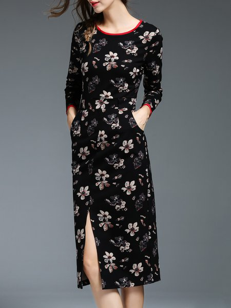 Black Long Sleeve Slit Floral Crew Neck Midi Dress