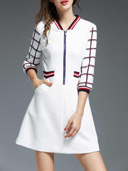 White Casual 3/4 Sleeve Pockets Mini Dress