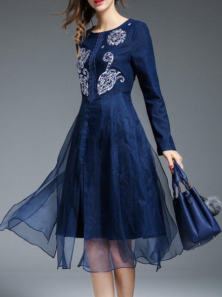 Dark Blue Embroidered Long Sleeve Midi Dress