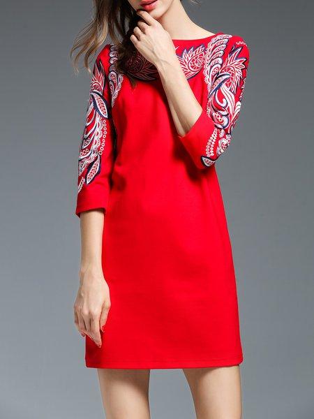 Tribal Embroidered H-line Pockets 3/4 Sleeve Mini Dress