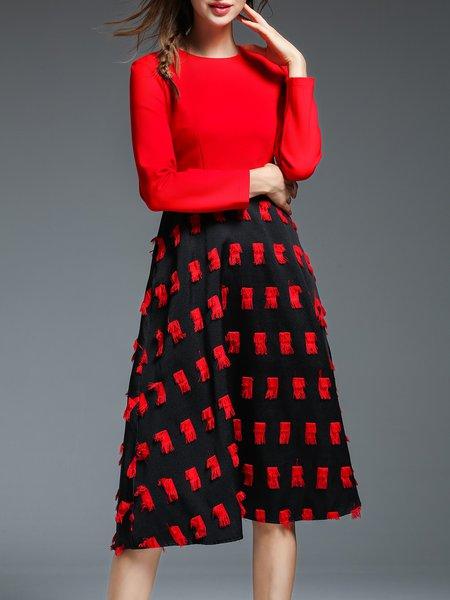 Red Elegant Crew Neck Paneled Midi Dress