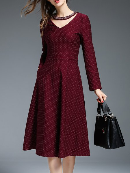 Zipper Polka Dots Elegant Long Sleeve Midi Dress