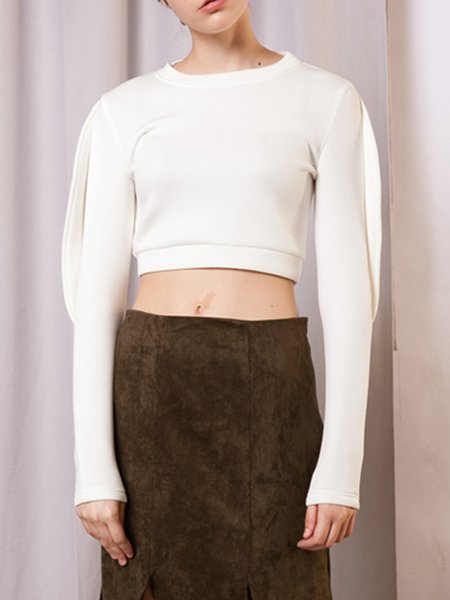 Crew Neck Polyester Solid Simple Cropped Top