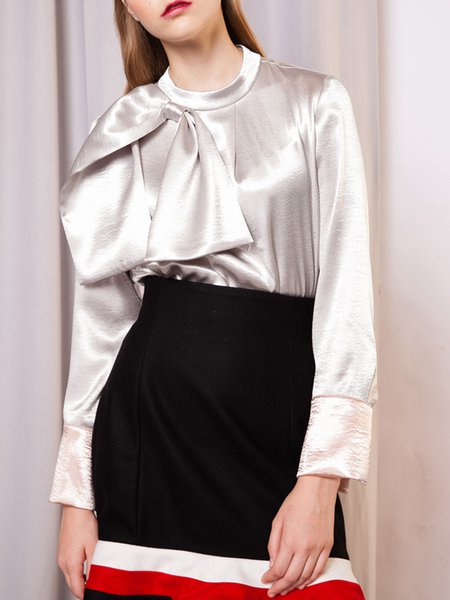 Silver Bow Paneled Long Sleeve Blouse