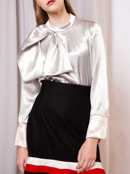 Silver Bow Paneled Long Sleeve Blouse