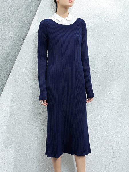 Dark Blue Bateau Neck Long Sleeve Sweater Dress