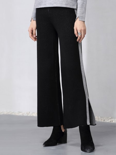 Slit Simple Wool Blend Wide Leg Pants
