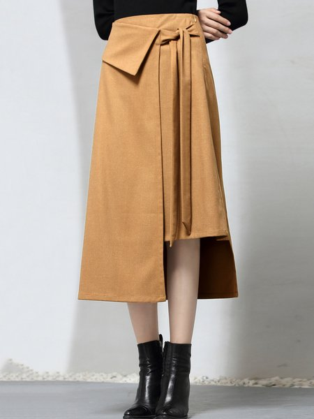 Asymmetric Solid High Low Simple Midi Skirt
