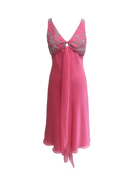 Pink Beaded Cutout Sleeveless V Neck Midi Dress
