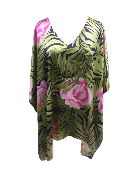 Green Silk Batwing Casual Floral Blouse