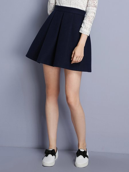 Navy Blue Folds Casual A-line Mini Skirt - StyleWe.com