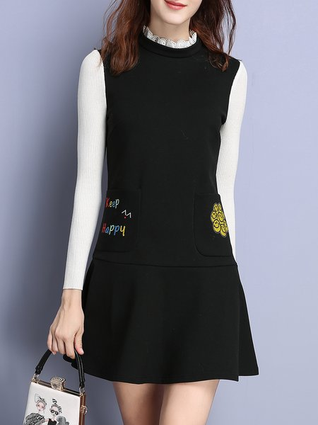 A-line Floral-embroidered Elegant Sleeveless Letter Mini Dress