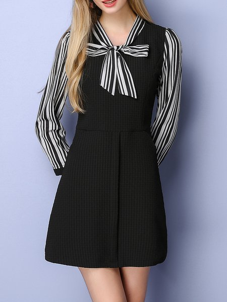Black V Neck Girly Bow Stripes Mini Dress