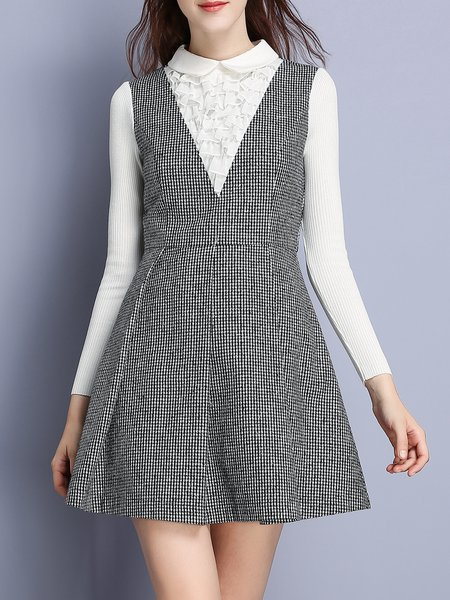 Gray Elegant Houndstooth A-line Mini Dress