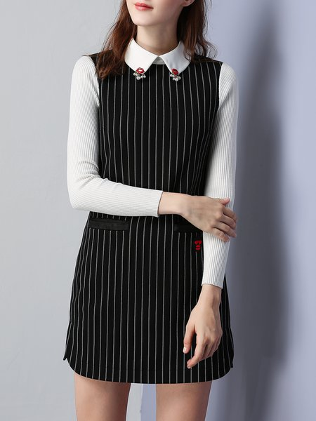 Black Shift Shirt Collar Long Sleeve Stripes Mini Dress