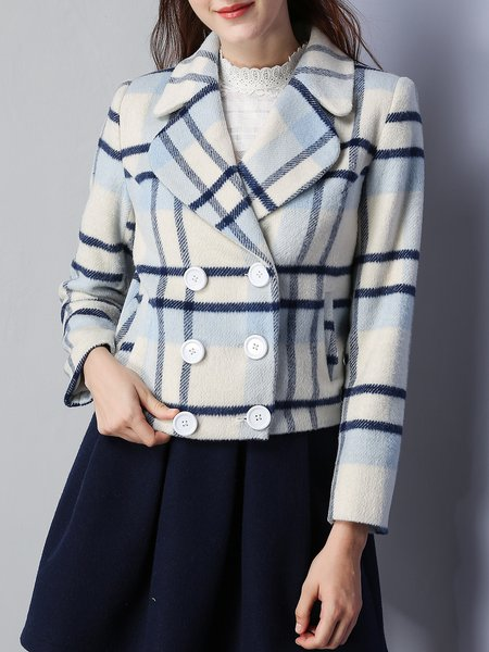 Apricot Checkered/Plaid Long Sleeve Cropped Jacket