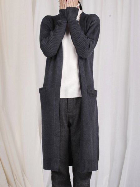 Gray Plain Knitted Casual Cardigan