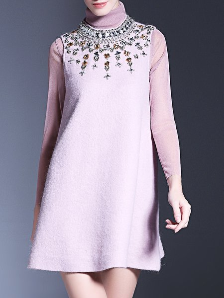 Beaded Girly Wool Blend A-line Stand Collar Mini Dress