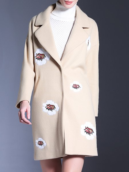 Floral Embroidered Wool Blend Long Sleeve Coat
