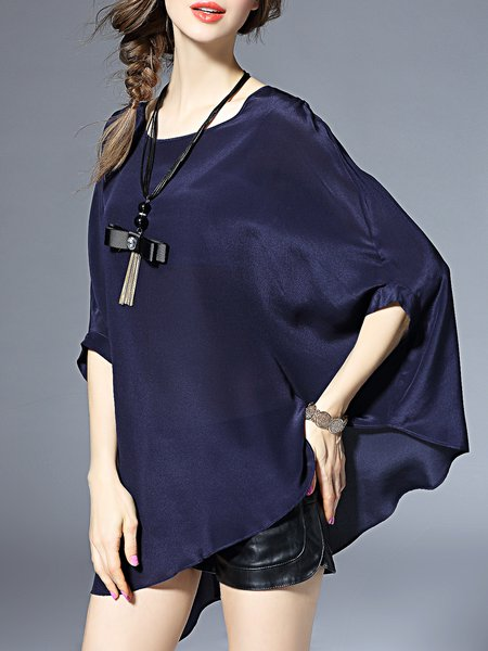 Asymmetric Silk Batwing Blouse