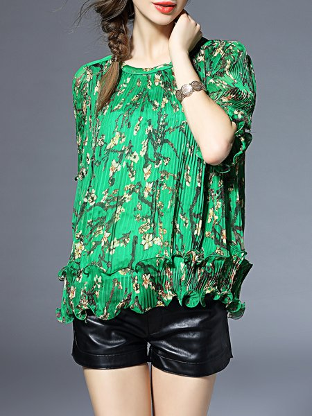 Ribbed Polyester Half Sleeve Printed Crew Neck Blouse