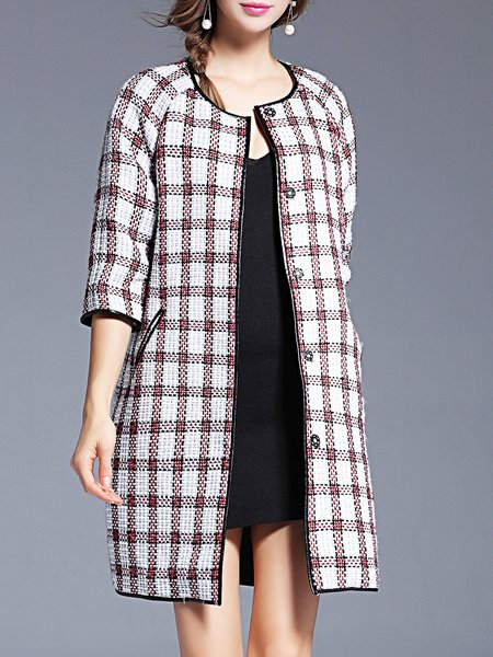 Checkered Pockets Elegant Crew Neck 3/4 Sleeve H-line Coat