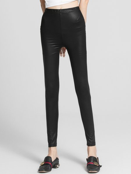 Black Casual Polyester Solid Leggings