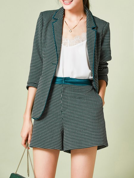 Green Pockets 3/4 Sleeve Elegant Two Piece Separates