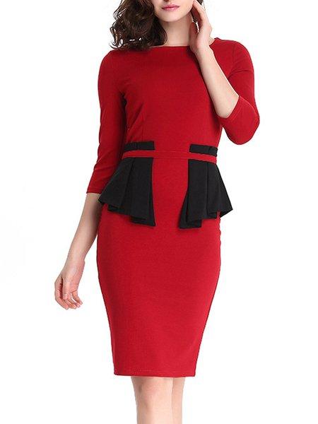 Red Elegant 3/4 Sleeve Color-block Peplum Midi Dress