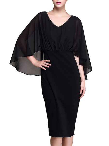 Black Paneled Batwing Elegant V Neck Midi Dress