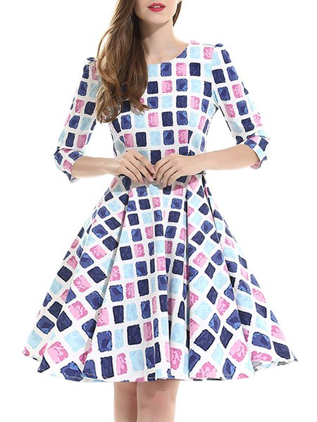 Swing Geometric Printed Long Sleeve Vintage Midi Dress with Belt