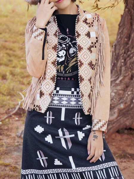 Khaki Faux Suede Fringed Tribal Long Sleeve Cropped Jacket