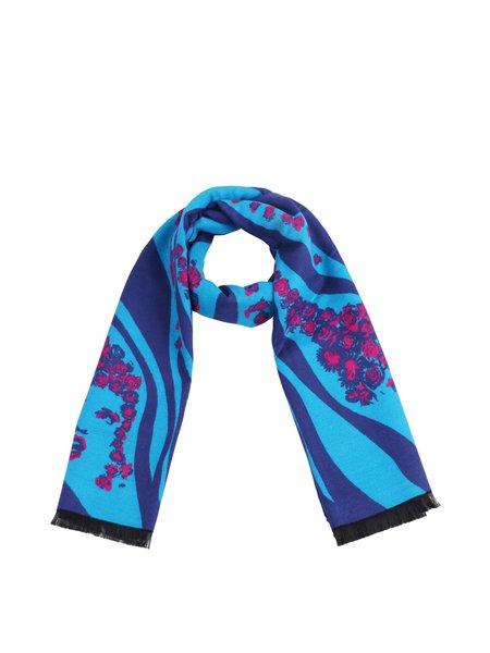 Blue Floral Elegant Viscose Scarf