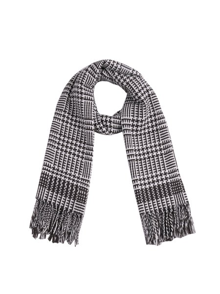 Gray Acrylic Elegant Checkered Fringed Scarf