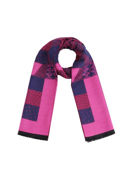 Purple Viscose Casual Checkered Scarf