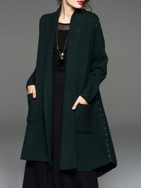 Pockets Wool Blend Solid Long Sleeve Cardigan