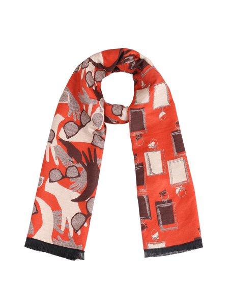 Orange Cute Printed Viscose Scarf