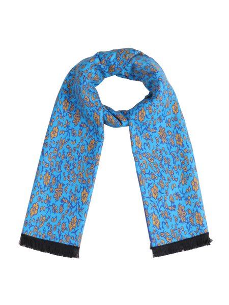 Blue Viscose Floral Casual Scarf