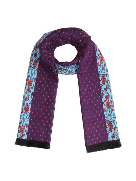 Purple Casual Viscose Floral Scarf