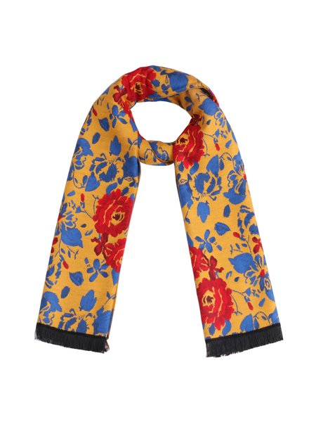 Yellow Viscose Floral-print Scarf