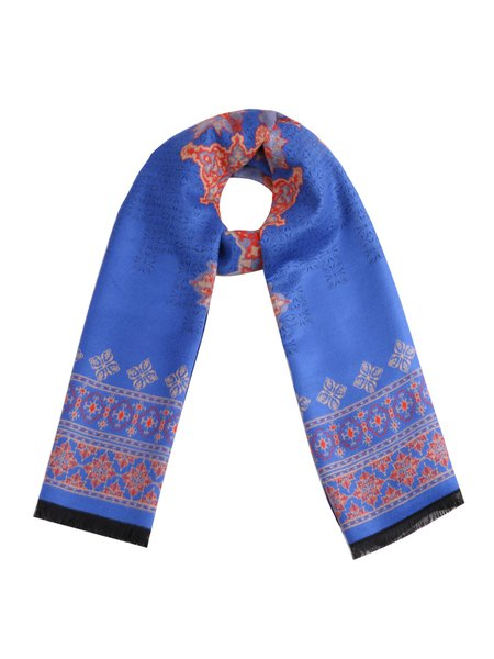 Royal Blue Tribal Casual Viscose Scarf