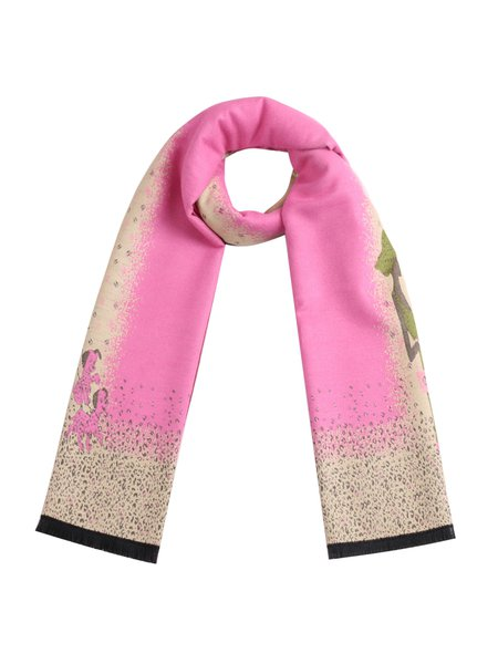 Pink Graphic Cute Viscose Scarf