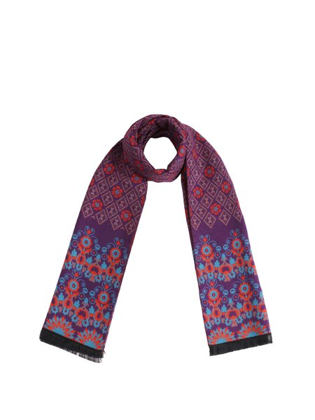 Purple Vintage Viscose Tribal Scarf